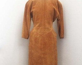On Sale Vintage Camel Suede Dress