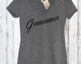 Groomswoman V Neck Shirt, Bride Shirt, Wifey Shirt, Bridal Shirt, Bridal Party Gift, Wedding, Gift, Bridal Party, Bridesmen, Modern Wedding