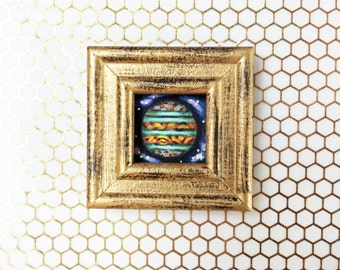 Jupiter Framed Painting, Original Painting, Small Framed Painting, Planet Painting, Jupiter Art, Galaxy, Space Painting, Science Art