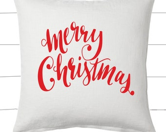 Red and White Merry Christmas Pillow and Insert Christmas Decoration Christmas Saying Holiday Pillow Red White Christmas