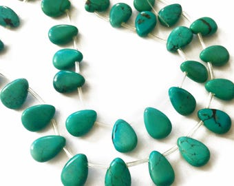 Genuine turquoise smooth briolettes.  Approx. 10x14mm.   Select a quantity.