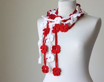 Flower Scarf Lariat Scarf Boho Scarf Scarflette Crochet Garland Crocheted Necklace Fashion Accessories Women Flower Scarf Festival Scarf