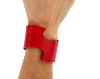 Swoosh bracelet, leather cuff bracelet, red leather cuff, red leather bracelet, red, cuff bracelet.