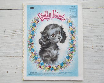 Fluffy Friends Book . 1970 . Whitman Cloth Book . Vintage Baby Book . Florence Sarah Winship .  Playpen Picture Book . 1970's Animal Book