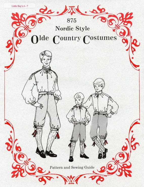 Boys Nordic Style Shirt & Knickers sizes 4-7 Olde Country Costumes Sewing Pattern #875