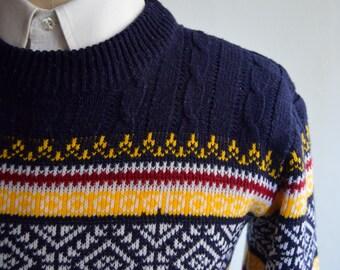Vintagw 70s Navy Blue Fair Isle/Ski Sweater by JC Penney Size Small