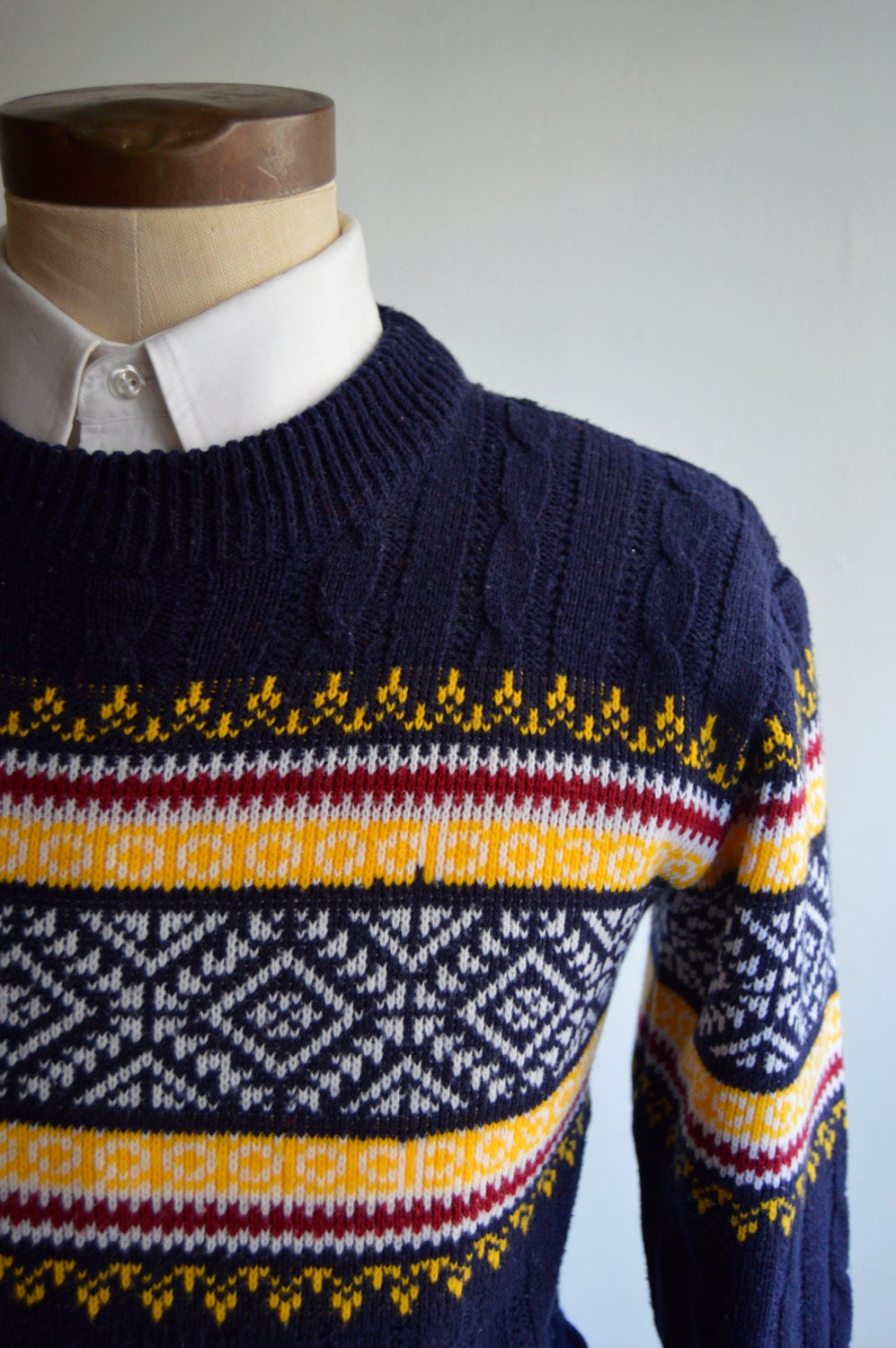 Vintagw 70s Navy Blue Fair Isle/Ski Sweater by JC Penney Size Small