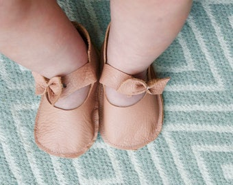 Blush Pink Leather Bow Shoes With Matching Headband