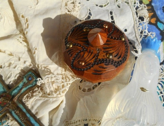 Religious Box Our Lady of Lourdes Studded Wood Faceted Hand Turned Rosary French Folk Box #sophieladydeparis