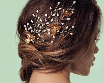 East Side Hair Vine - Mother pearls, blossoming brass flowers and crystal embellishments