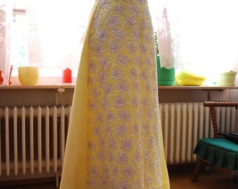 Vintage 60's/70's Mike Benet Buttercup Yellow Soutache Full Length Formal/Prom Gown