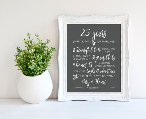 25th Wedding Gifts For Parents : 25th Wedding Anniversary Gift for Parents, Silver Print, 25 years ...
