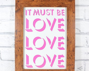 PAPERCUT - It must be Love Love Love shadow lettering original papercut by QueenieDot