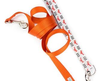 Fox dog leash, orange dog leash, nylon dog leash, fox print fabric, dog leash and collar, custom dog leash, pet leash, choose webbing color