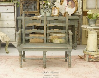 Provencal double seat miniature in wood, Grey blue, Furniture for a French dollhouse in scale 1:12th