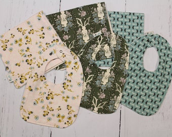 Forest Floor Collection Baby Bib and Burp Cloth Set, Newborn Gift, Baby Shower Gift, Organic Cotton, Choose your fabric, Build a Set