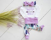 Baby Girl Coming Home Outfit: CHOOSE COMBO Personalized Hello, World Bodysuit, Feather Leggings or Shorts, Headband, Hat, Swaddle, Mittens