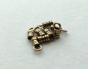 2mm Antique Brass Barrel Crimp End Caps - 4 pair