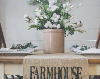 FARMHOUSE Table Runner, Burlap Table Runner, Table Runner, Family Table Runner * Free Shipping*