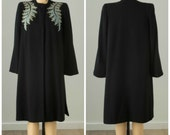 1940s Navy Wool Embroidered Winter Coat