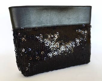 Essie Sequinned Clutch:  Black High Gloss Square Sequins with Black Leather Trim