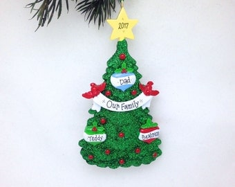 3 Family Christmas Tree Personalized Ornament / Personalized Christmas Ornament / Custom Names and Message