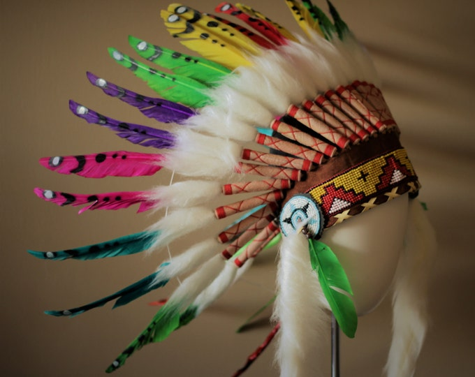 K17 From 5-8 years Kid / Child's: Rainbow swan feather Headdress 21 inch. – 53,34 cm.
