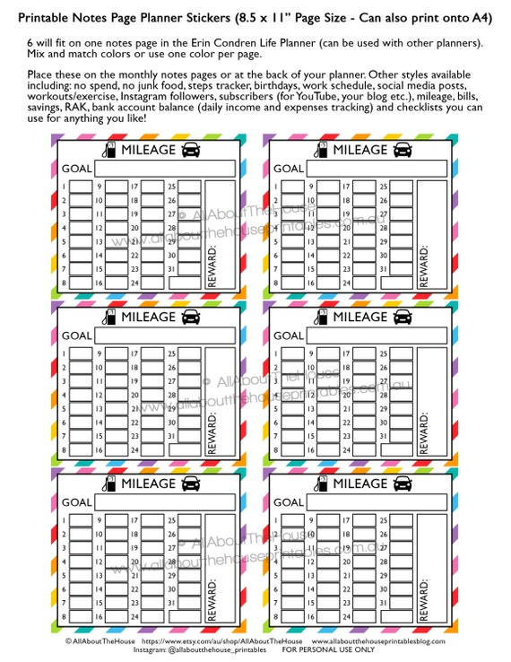 mileage planner stickers notes page printable business