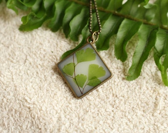 Maidenhair Fern Pendant / Eco-Friendly Resin Pendant / Bezel Necklace