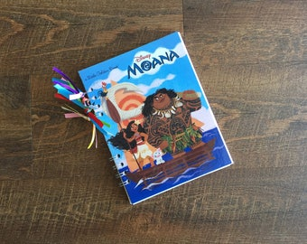 Moana Disney Autograph Book - Disney Princess Autograph book - Moana Journal - Upcycled Little Golden Book Journal with blank pages