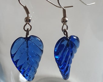 Blue Glass Leaf Drop Earrings