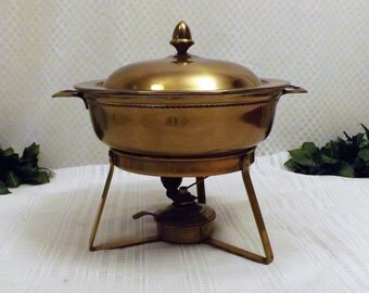 Antique Brass Sautee Chafing Dish Buffet Serving Dish  Rare Warmer