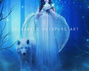 Angel magical fantasy woman with wolf in forest art print