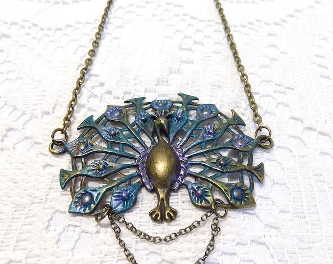 handmade antique bronze peacock necklace