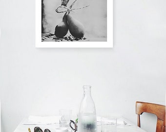 Pears Fine art photography Kitchen wall art Food photography Black and White print Romantic decor Autumn fruits. Butterfly photography print