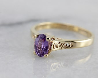 Gorgeous Purple Sapphire Solitaire in Modern Filigree Ring Y83VX5-D