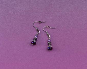 purple drop earrings, purple earrings, purple bead jewelry, purple beaded jewellery, small jewellery thank you gift, birthday earrings gift