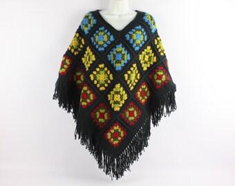Vintage 70's Hippie Crochet Shawl
