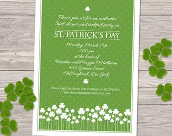 Shamrock Garden St. Patrick's Day Party Invitation; Printable, Evite or Printed (US Only) Invitation