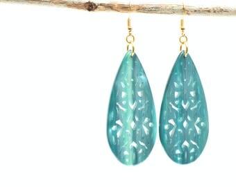 Turquoise earrings, Boho earrings, Drop earrings, Long earrings, Filigree earrings, Gift for her, Dangling earrings, Resin earrings