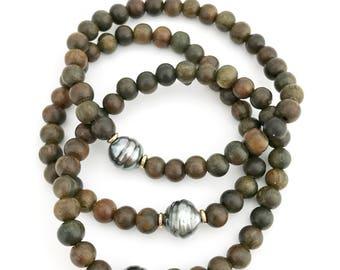 Tahitian Pearl Sandalwood Bracelet, Pearl Jewelry, Sandalwood Jewelry, Stretchy Bracelet, Hawaii Jewelry, Grey Pearls, Gift, Kaua'i