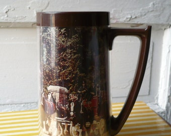 Vintage Thermo Serv Mug Clydesdale Horses Pulling Wagon