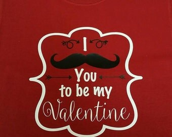 Valentine's Day Shirt - Little Boy - I mustache you to be my Valentine
