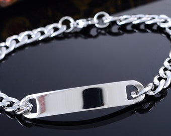 Polished Link Cuban Curb Chain Stainless Steel ID Bracelet Blank Silver Tone USA DIY