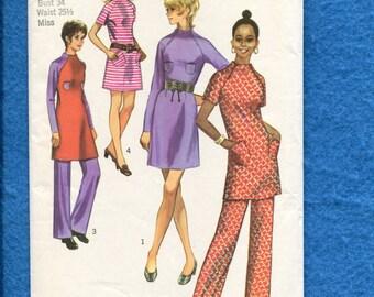 1970's Simplicity 9216 Chic Zipper Raglan Sleeve & Raised Neckline Dress or Tunic Size 12