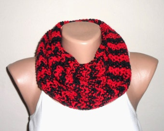 red black knit infinity scarf loop scarf circle scarf knitting scarf winter scarf gift for her