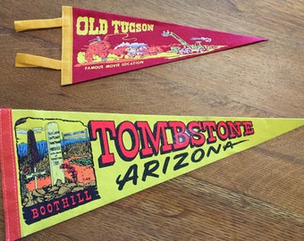 Arizona Pennants, TWO Vintage Old Tucson Movie Location and Tombstone Boot Hill