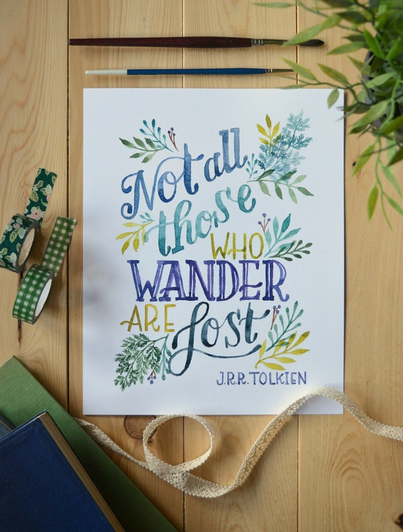 Book Cover Watercolor Quotes : Tolkien quote watercolor art book lord of the