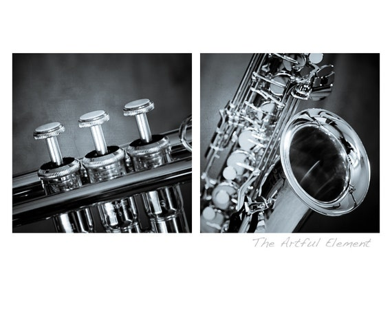 Saxophone art, Music lover gift, Music art, Trumpet art, Gifts for Musicians, brass, Jazz art, Set of 2 prints //Brass Instruments photo set