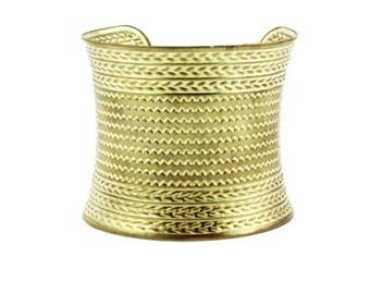Wide Gold Cuff Bracelet, Chunky Gold Cuff Bracelet, Chunky Cuff Bracelet, Gold Pressed Cuff Bracelet, Gold Gauntlet Bracelet